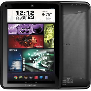 "Visual Land Prestige Elite 8Q Tablet - 8"" - 1 GB DDR3 SDRAM Quad-core (4 Core) 1.60 GHz - 8 GB - Android 4.4 KitKat - Black"