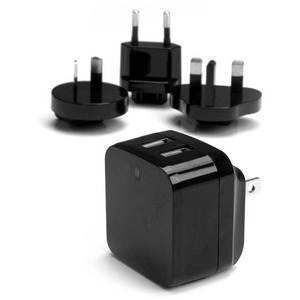 StarTech.com Travel USB Wall Charger - 2 Port - Black - Universal Travel Adapter - International Power Adapter - USB Charger
