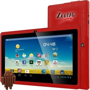 "Zeepad 7DRK-Q Tablet - 7"" - 512 MB DDR3 SDRAM - Allwinner Cortex A7 A33 Quad-core (4 Core) 1.80 GHz - 4 GB - Android 4.4 KitKat - 800 x 480 - Red"