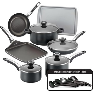 Farberware 17-Piece Cookware Set, Black
