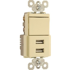 Pass & Seymour USB Charger with Single Pole/3-Way Switch, Ivory