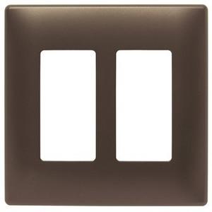 Pass & Seymour Two-Gang Screwless Decorator Wall Plate, Dark Bronze