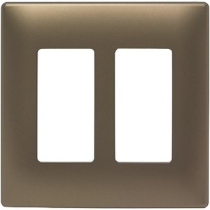 Pass & Seymour Two-Gang Screwless Decorator Wall Plate, Antique Brass