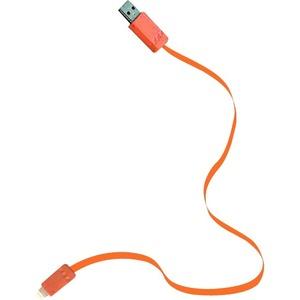 Symtek USB Apple Certified Flat Cable for iPhone 5, Orange