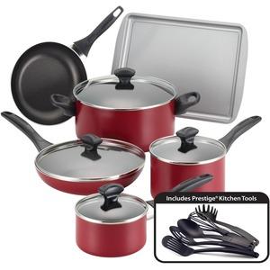 Farberware 15-Piece Cookware Set, Red