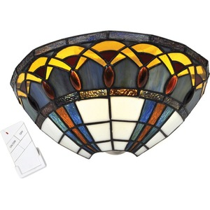 It's Exciting Lighting Stained Glass Half Moon Sconce with Jewels