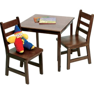 Lipper Child's Square Table & Chairs, 3-Piece Set, Walnut Finish