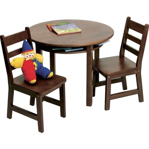 Lipper Child's Round Table with Shelf & 2 Chairs, Walnut Finish