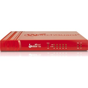 WatchGuard Firebox T30 - 620 Mbps Firewall, 150 Mbps VPN, 135 Mbps UTM; 5 Gb Ethernet interfaces, incl. 1 POE+, 1 serial, 2 USB; 40 BOVPN tunnels, 25 IPSec and SSL; 200,000 co ...(more)