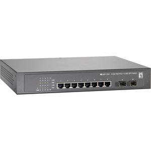 LevelOne 10-Port Gigabit PoE Switch, 802.3at PoE+, 2 x SFP, 8 PoE Outputs, 250W