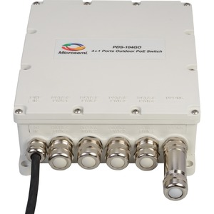 Microsemi PDS-104GO 4+1 Outdoor Switch, 60W Per Port, Managed PoE, AC Input