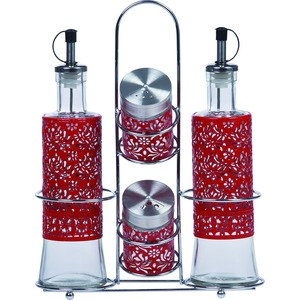 PURELIFE 5 Piece Glass Condiment Set with Stainless Steel Rack