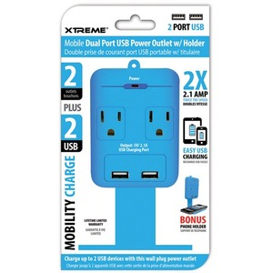 Xtreme Cables 2 Outlet Wall Tap w/ Dual Port USB and Shelf