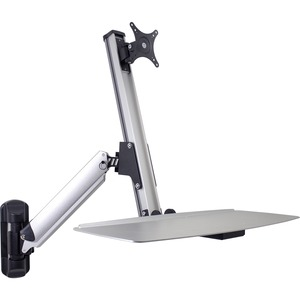 """DoubleSight Displays DS-ERGO-100WM Ergonomic Sit/Stand Monitor Arm and Keyboard Tray Wall Mount up to 30"""" Monitor - 24"""" lb Support"""