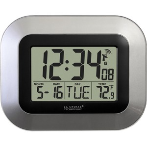 La Crosse Technology WT-8005U-S Atomic Digital Wall Clock with Indoor Temperature and Date