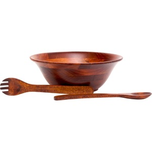 Lipper Cherry Finished Flared Bowl with Servers, 3-Piece Set
