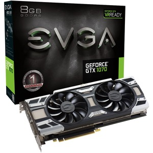 EVGA GeForce GTX 1070 Graphic Card - 1.51 GHz Core - 1.68 GHz Boost Clock - 8 GB GDDR5 - PCI Express 3.0 x16 - Dual Slot Space Required