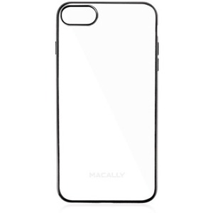 Macally Ultra Thin Soft Transparent Case with Matte Black Trim for iPhone 7