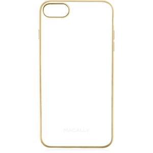 Macally Ultra Thin Soft Transparent Case with Matte Gold Trim for iPhone 7