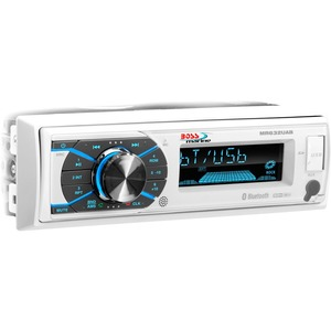 BOSS AUDIO MR632UAB Marine Single-DIN MECH-LESS Multimedia Player (no CD or DVD), Receiver, Bluetooth, Detachable Front Panel, Wireless Remote