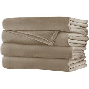 Sunbeam Queen Velvet Plush Heated Blanket, Mushroom
