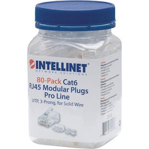 Intellinet 80-Pack Cat6 RJ45 Modular Plugs Pro Line