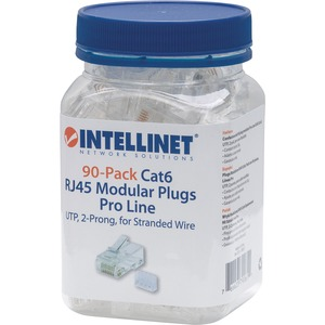 Intellinet 90-Pack Cat6 RJ45 Modular Plugs Pro Line
