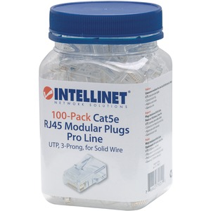 Intellinet 100-Pack Cat5e RJ45 Modular Plugs Pro Line