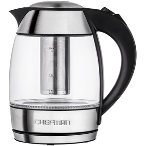Chefman RJ11-17-TI Cordless Glass Electric Kettle With Bonus Tea Infuser