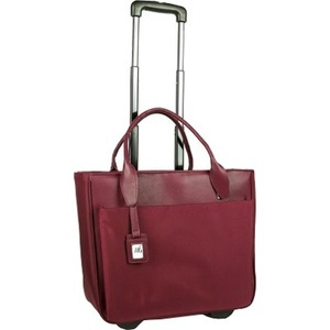 """WIB Florence Carrying Case (Rolling Tote) for 17.3"""" Accessories, Document, Tablet, Notebook, Travel Essential - Burgundy"""
