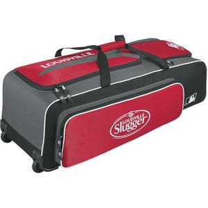 Louisville Slugger Carrying Case (Roller) for Gear, Helmet, Glove, Baseball Bat, Shoes, Baseball, Equipment - Scarlet