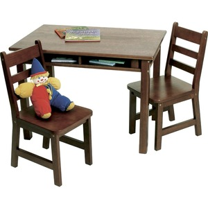 Lipper Child's Rectangular Table with Shelves & 2 Chairs, Walnut Finish