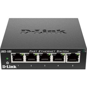 D-Link DES-105 5-Port 10/100 Unmanaged Metal Desktop Switch
