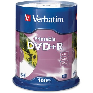 Verbatim DVD+R 4.7GB 16X White Inkjet Printable - 100pk Spindle