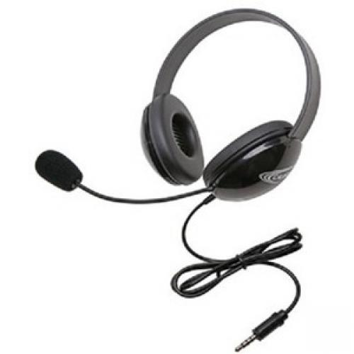 Califone Stereo Black Headphone With To Go 3.5Mm Plug - Stereo - Mini-phone (3.5mm) - Wired - 32 Ohm - 20 Hz - 20 kHz - Over-the-head - Binaural - Supra-aural - 5.50 ft Cable - Noise Cancelling, Electret, Noise Reduction Microphone - Black