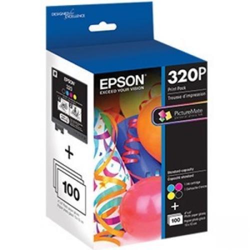 Epson T320P Original Ink Cartridge/Paper Kit - Black, Cyan, Magenta, Yellow