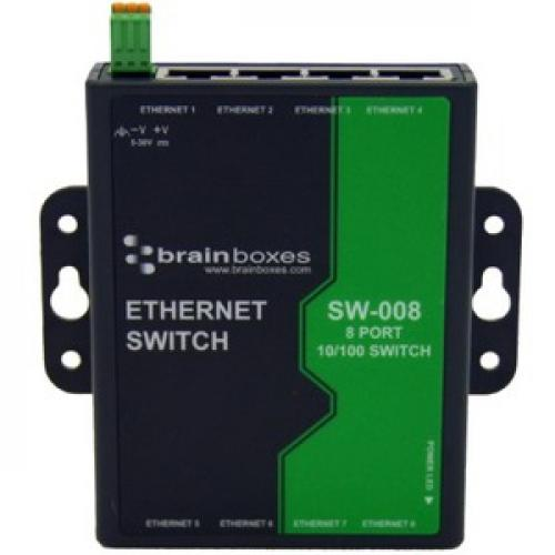 Brainboxes 8 Port Unmanaged Ethernet Switch Wall Mountable