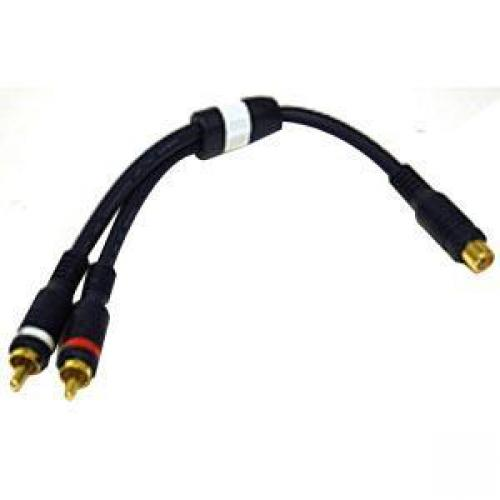 C2G 6in Velocity Two RCA Stereo Male to One RCA Mono Female Y-Cable