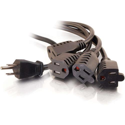 C2G 18in 1 To 4 Power Cord Splitter   16 AWG   NEMA 5 15 To NEMA 5 15R 300/500