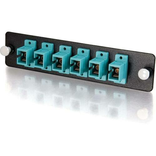 C2G Q Series 6 Strand, SC, PB Insert, MM, Aqua SC Adapter Panel 300/500