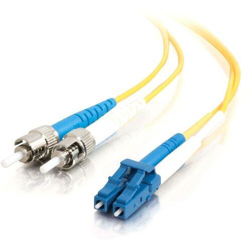C2G 8m LC ST 9/125 OS1 Duplex Singlemode PVC Fiber Optic Cable   Yellow 300/500
