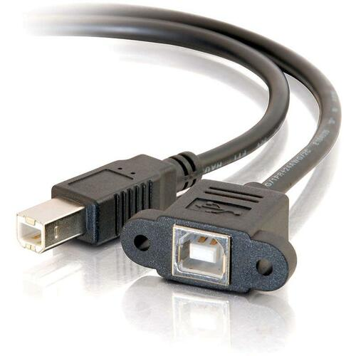 C2G 3ft Panel-Mount USB 2.0 B Female to B Male Cable