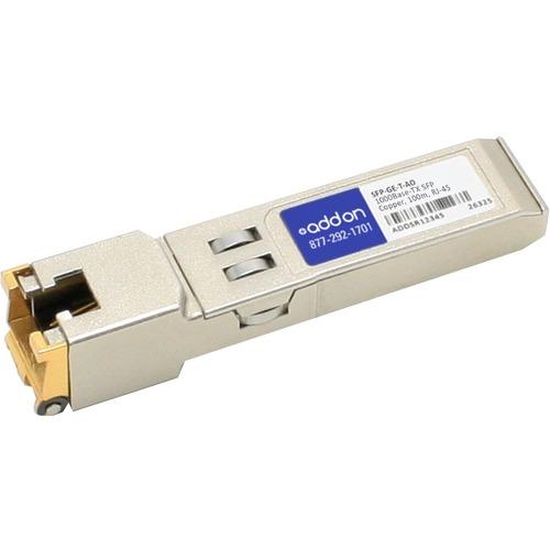 AddOn Cisco SFP GE T Compatible TAA Compliant 10/100/1000Base TX SFP Transceiver (Copper, 100m, RJ 45) 300/500