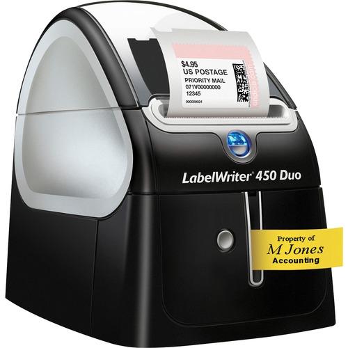 Dymo LabelWriter 450 Duo Direct Thermal Printer - Monochrome - Platinum - Label Print