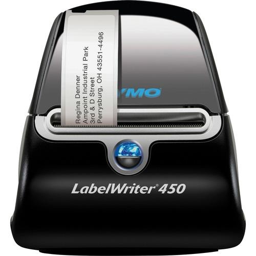 Dymo LabelWriter 450 Direct Thermal Printer - Monochrome - Label Print - USB - Black, Silver