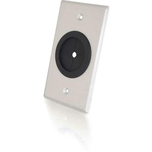 C2G 1.5in Grommet Cable Pass Through Single Gang Wall Plate   Brushed Aluminum 300/500