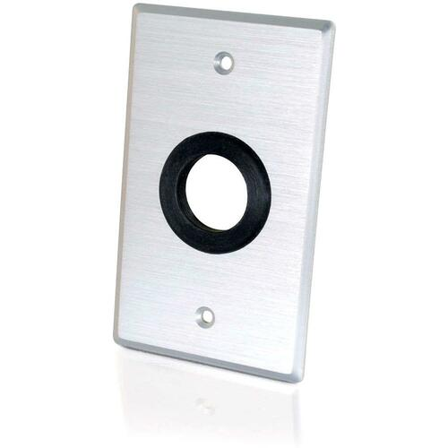 C2G 1in Grommet Cable Pass Through Single Gang Wall Plate   Brushed Aluminum 300/500