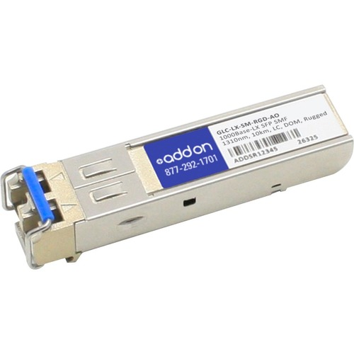 AddOn Cisco GLC LX SM RGD Compatible TAA Compliant 1000Base LX SFP Transceiver (SMF, 1310nm, 10km, LC, DOM, Rugged) 300/500