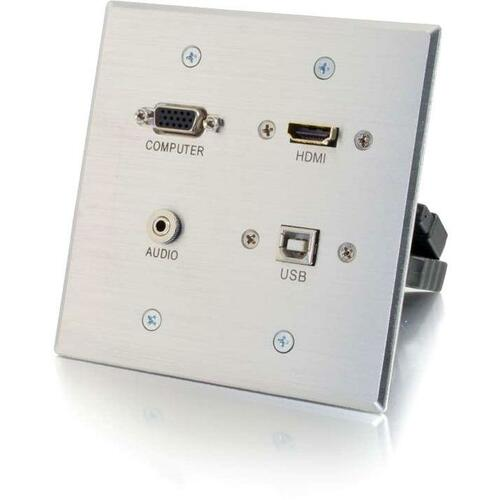 C2G HDMI, VGA, 3.5mm Audio and USB Pass Through Wall Plate - Double Gang