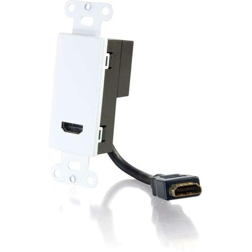 C2G HDMI Pass Through Decorative Wall Plate   White 300/500